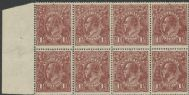 SG 52 ACSC 86(3)h., 86(3)h. KGV Head 1½d Red-Brown block of 8 (AHSMP/414)
